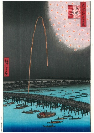 浮世絵復刻版 間判サイズ(20×30㎝) UFI-02 広重 名所江戸百景 「両国花火」