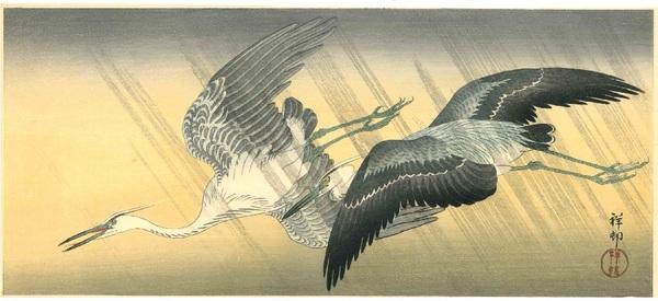 小原祥邨(古邨) 雨中二羽の鷺(三切判)