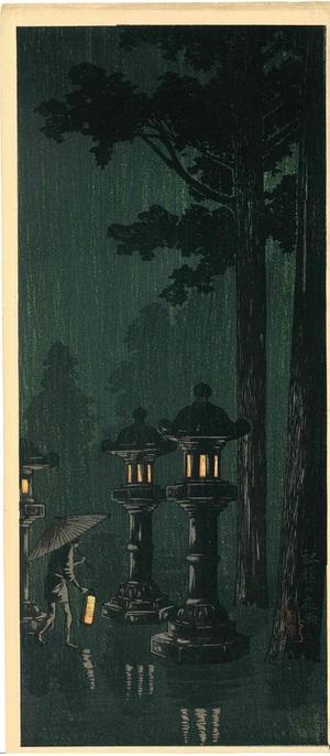 高橋松亭(弘明) 社頭の夜雨(三切判)(関東大震災前の作品)