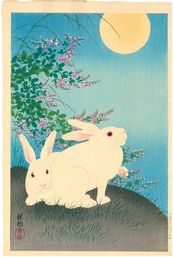 小原祥邨(古邨) 萩にウサギ