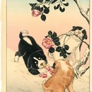高橋弘明(松亭) 雪中椿に子犬
