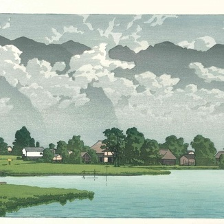 摺り上がりました。川瀬巴水H12「信州木崎湖」