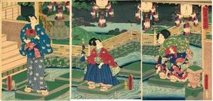 三代歌川豊国 源氏庭中遊行図(源氏絵 3枚続)