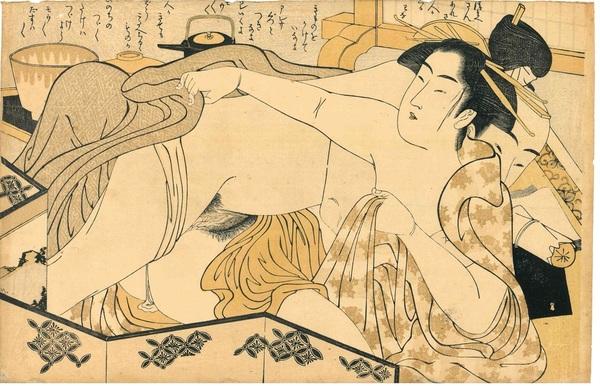 栄里 婦美の清書 衝立の後ろ (春画)