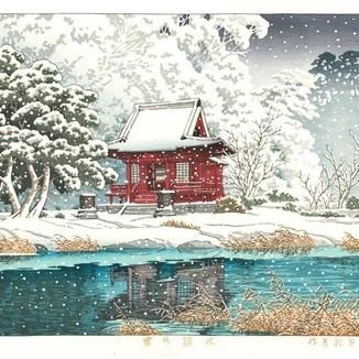 入荷しました。 川瀬巴水後摺木版画 HKS7「社頭の雪」